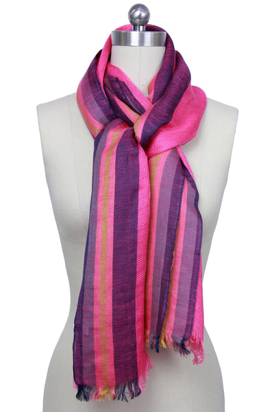 Pink Striped scarf with Fringe