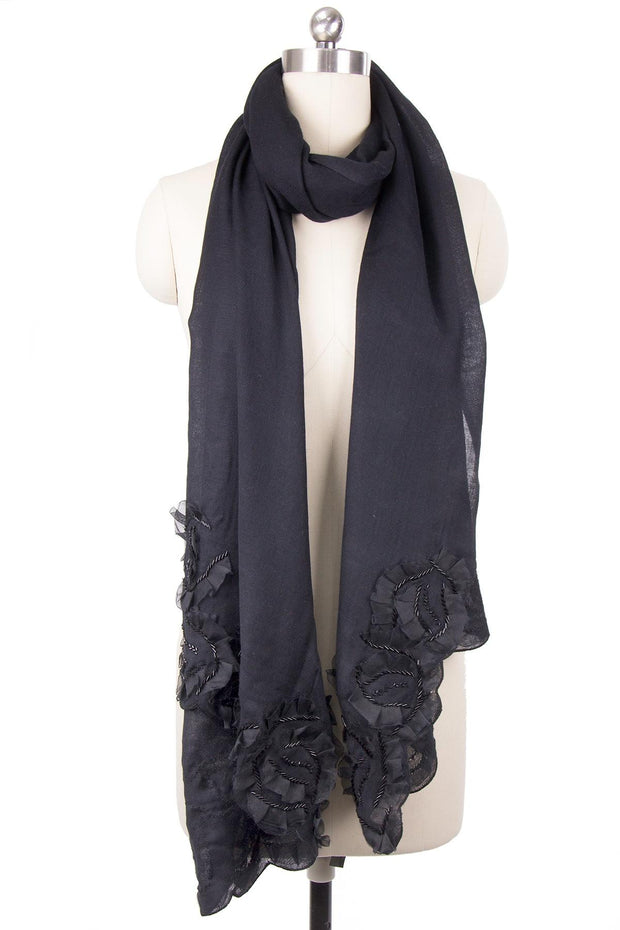Black Scarf with Floral Details