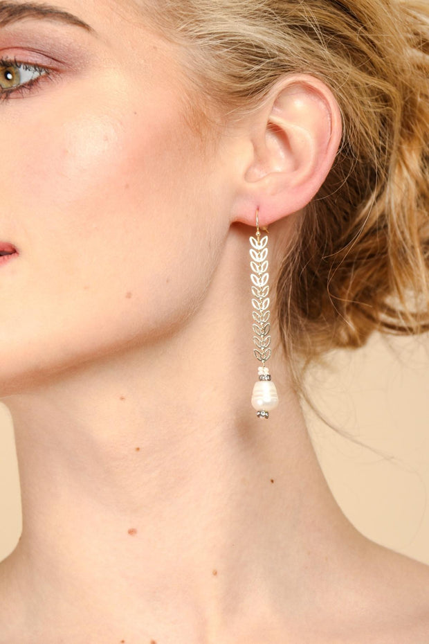 Filigree Drop Pearl Earring