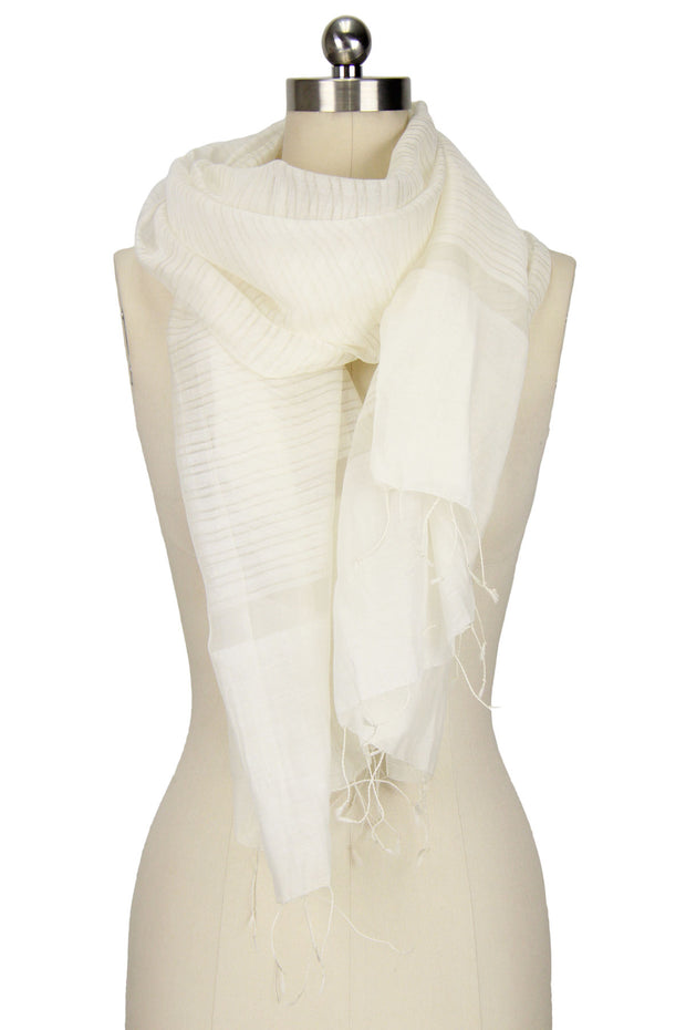 White Scarf with Fringe