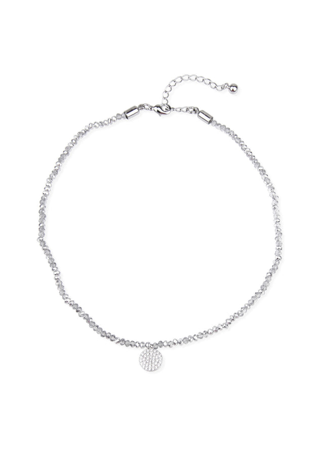 Silver Clear Crystal Beads Choker