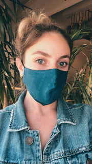 Set of 5 Botanical Dyed Cotton Masks - Blues