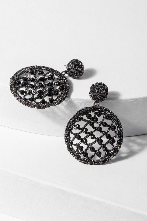 Black Sparkly Crystal Crochet Earrings