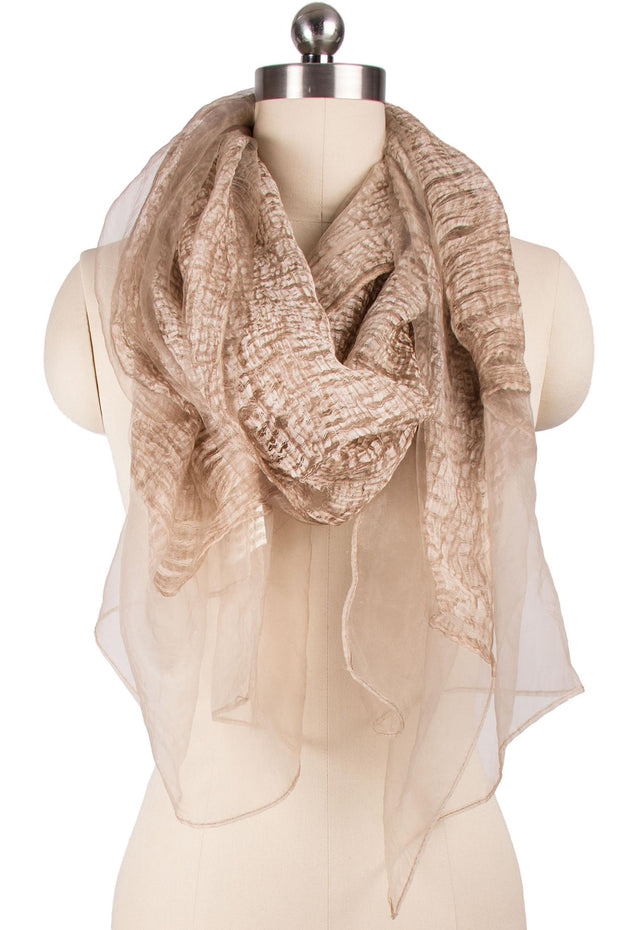 Wavy Metallic Silk Scarf