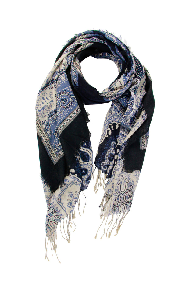 Frayed Patchwork Paisley Scarf