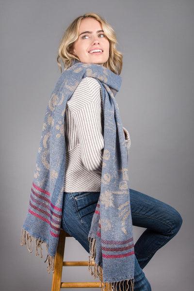 Reversible Denim Mixed Print Scarf