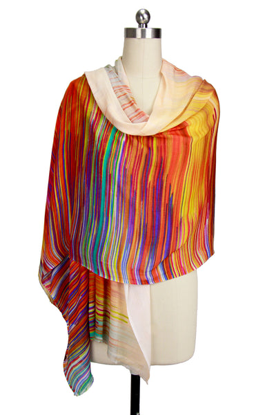 Colored Striped Oblong Scarf