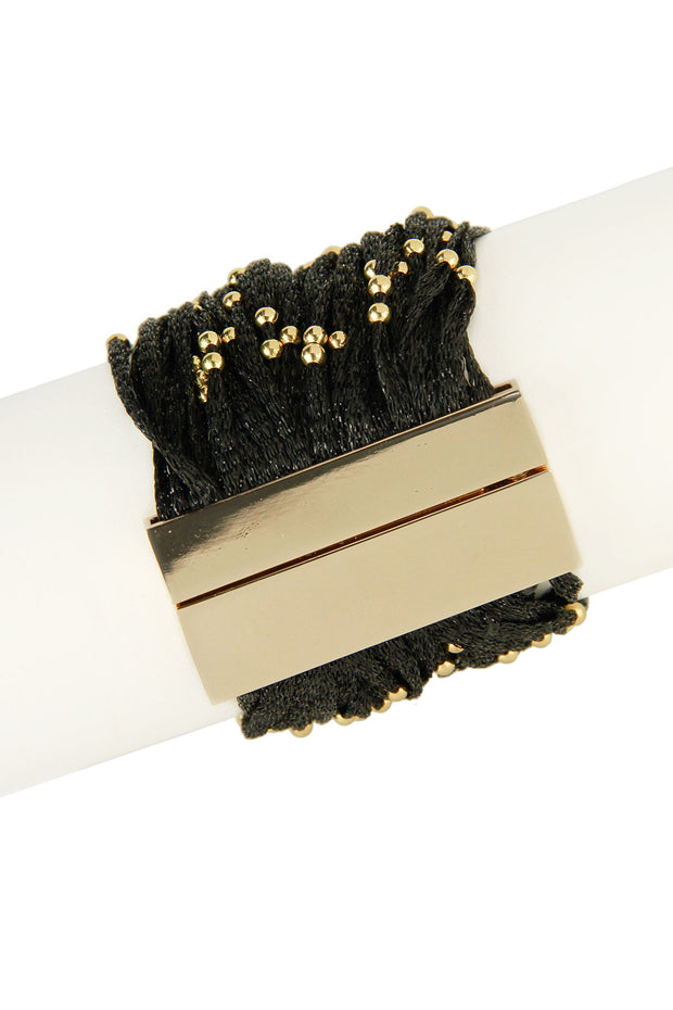 Black Metallic Cord Bracelet with Gold Beads