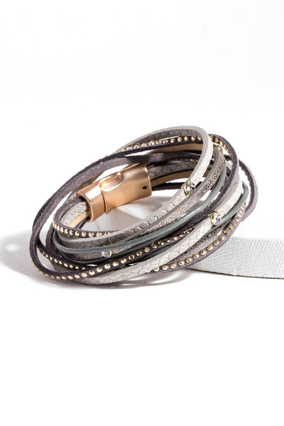 Stud Leather Wrap Bracelet