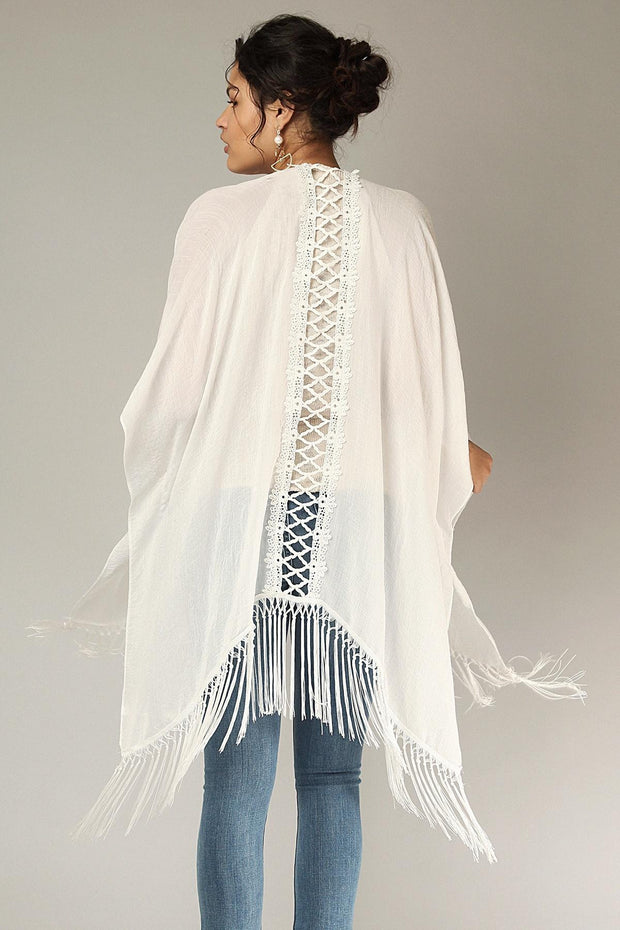 Lattice Kimono with Fringe