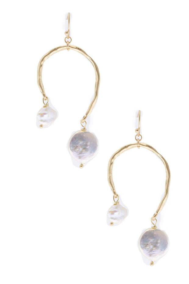 Uneven Drop Pearl Earring