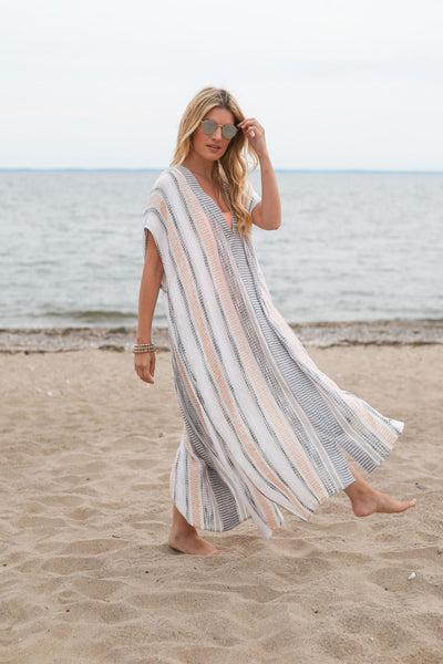 Stitched Striped Kaftan