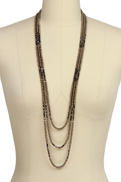 3 Layer Pearl Crystal Necklace