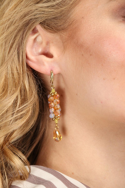 Cluster Bead Dangle Drop Earrings
