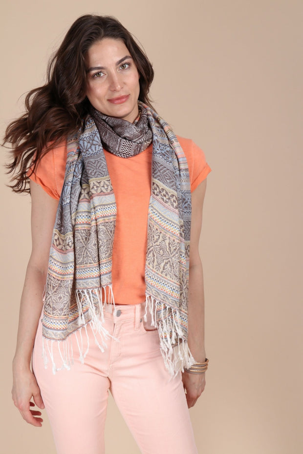 Multi Colored Striped Scarf