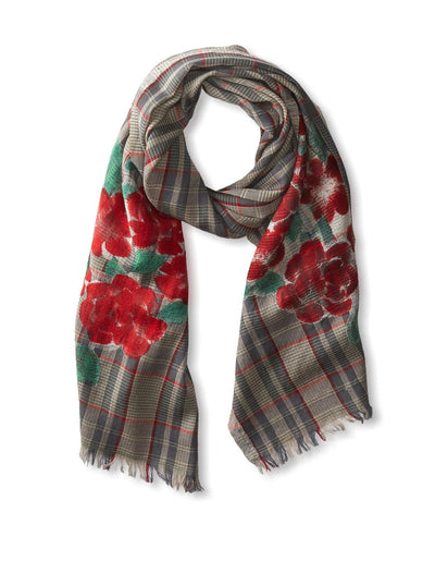 Roses Plaid Scarf