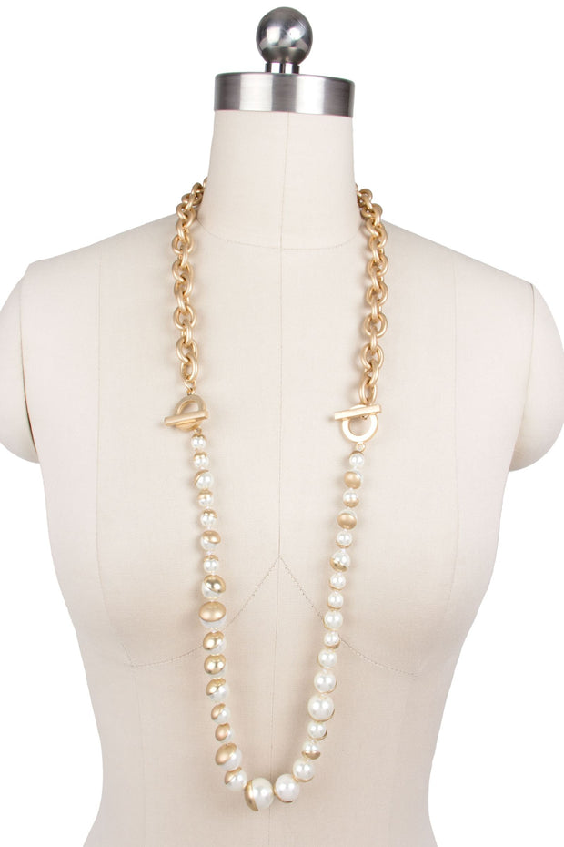 Single Moon Convertible Pearl Necklace