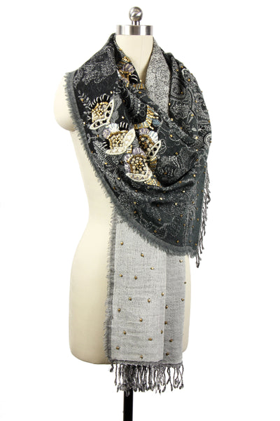 In-House Flower Embroidered Scarf