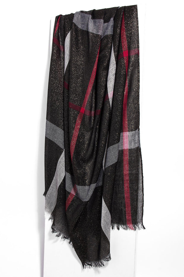 Shimmer Plaid Scarf