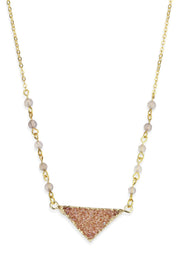 Triangle Pendant Druzy Necklace