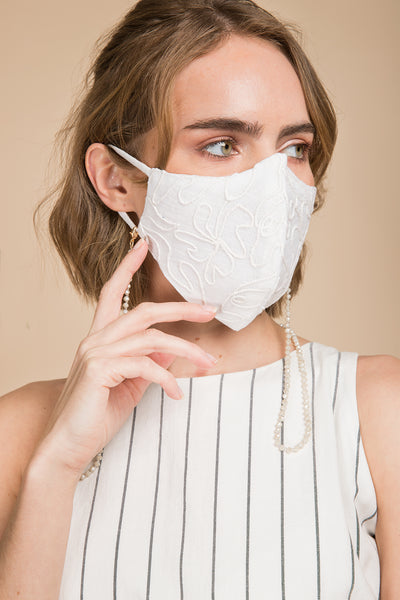 Linen Embroidered Face Mask