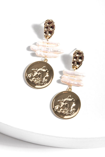 Calliope Pearl Coin Earring