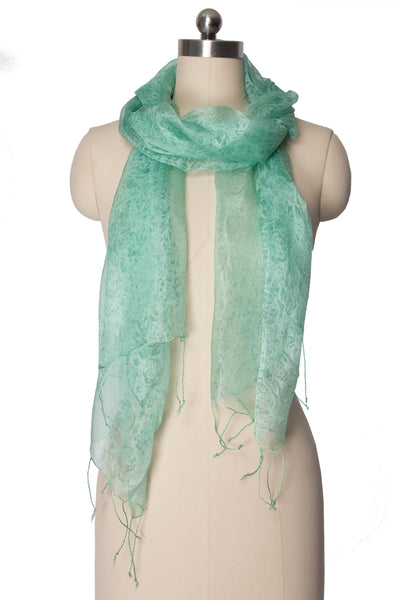 Sea foam Sheer Scarf with Fringe