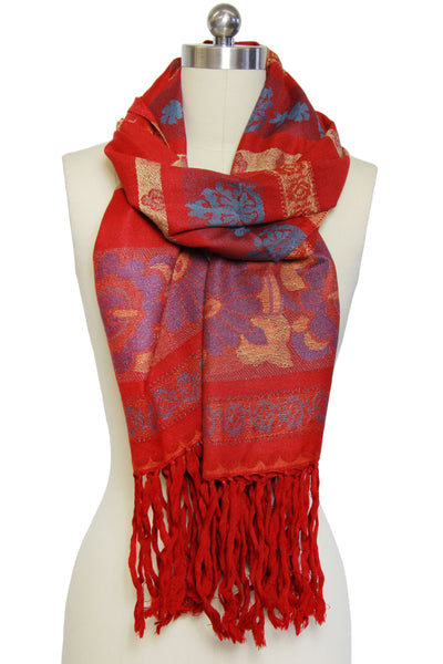 Fringed Floral Stripes Scarf R