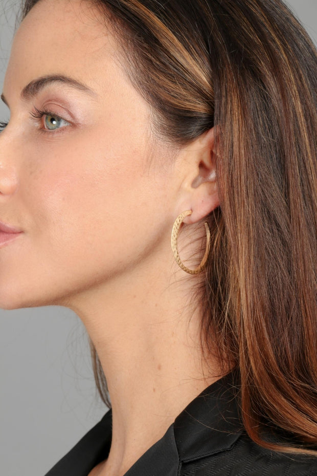 Hammered Hoop Earring GOLD