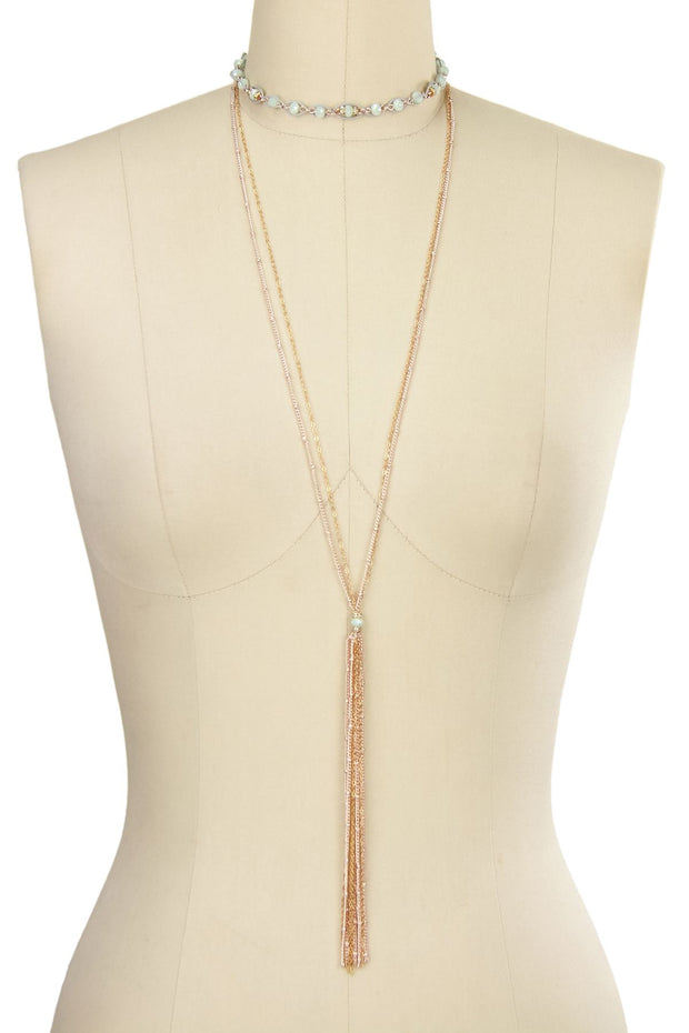 Long Tassel Necklace with Choker