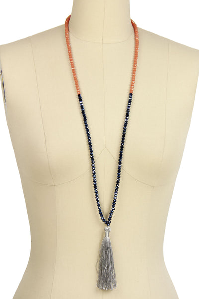 Long beaded tassel necklace Ch