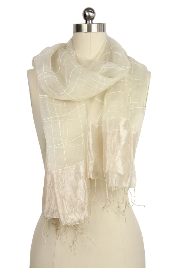 Embroidered Silk Fringed Scarf