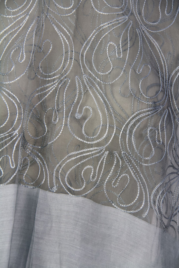 Silver Sheer Scarf with Fringe