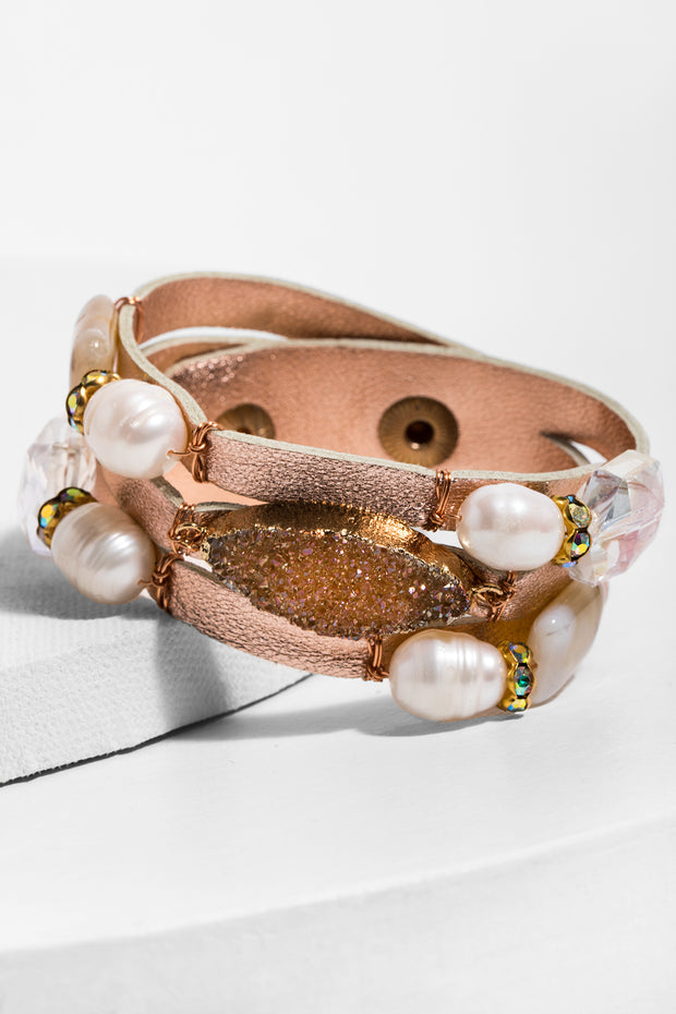 Gaia Leather Pearl Bracelet