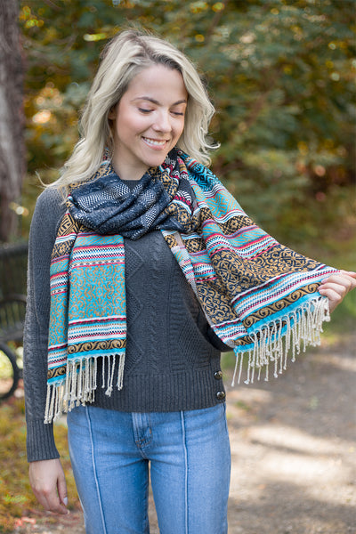 Striped Pattern Scarf with Fringe