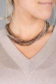 Multi Strand Crystal Ombre Necklace