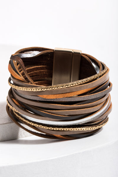 On the Line Leather Bracelet