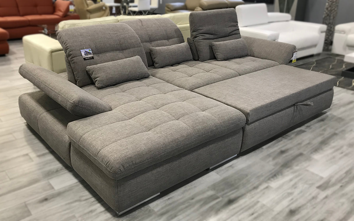 Alpine Fabric Sectional Sofa In Grey Left Facing Chaise
