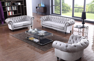 Nyla Gray Tufted Fabric Sofa Set