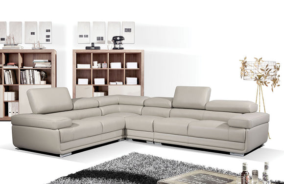 Mavis Beige Leather Sectional Sofa