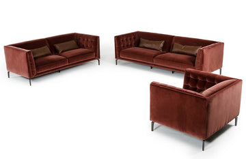 Divani Casa Ansted 3 Piece Modern Fabric Sofa Set