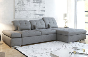 Alpine Fabric Sectional Sofa in Grey