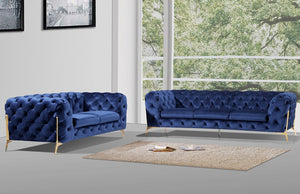 Divani Casa Sheila Modern Dark Blue Fabric Sofa Set