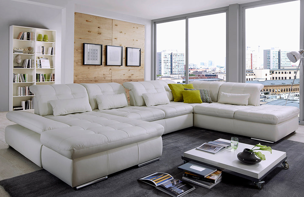 Alpine Sectional Sofa In Punch White Leather Left Facing
