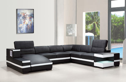 Lilah Modern Bonded Leather Sectional Sofa -Buy ($2496) in a ...