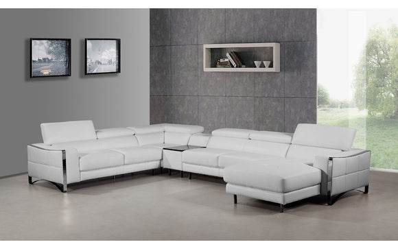 Divani Casa Arles Modern White Leather Sectional Sofa (special order)