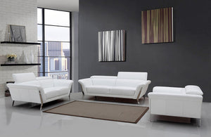 Jayden Modern White Leather Sofa Set