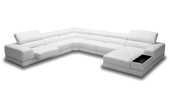 Laura Modern White Leather Sectional Sofa