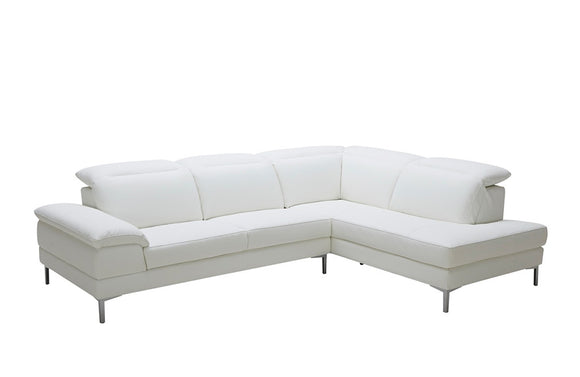 Macy Modern White Eco-Leather Sectional Sofa