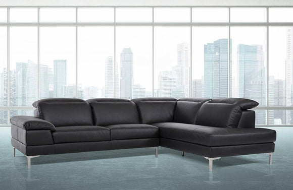 Jasper Modern Black Eco-Leather Sectional Sofa